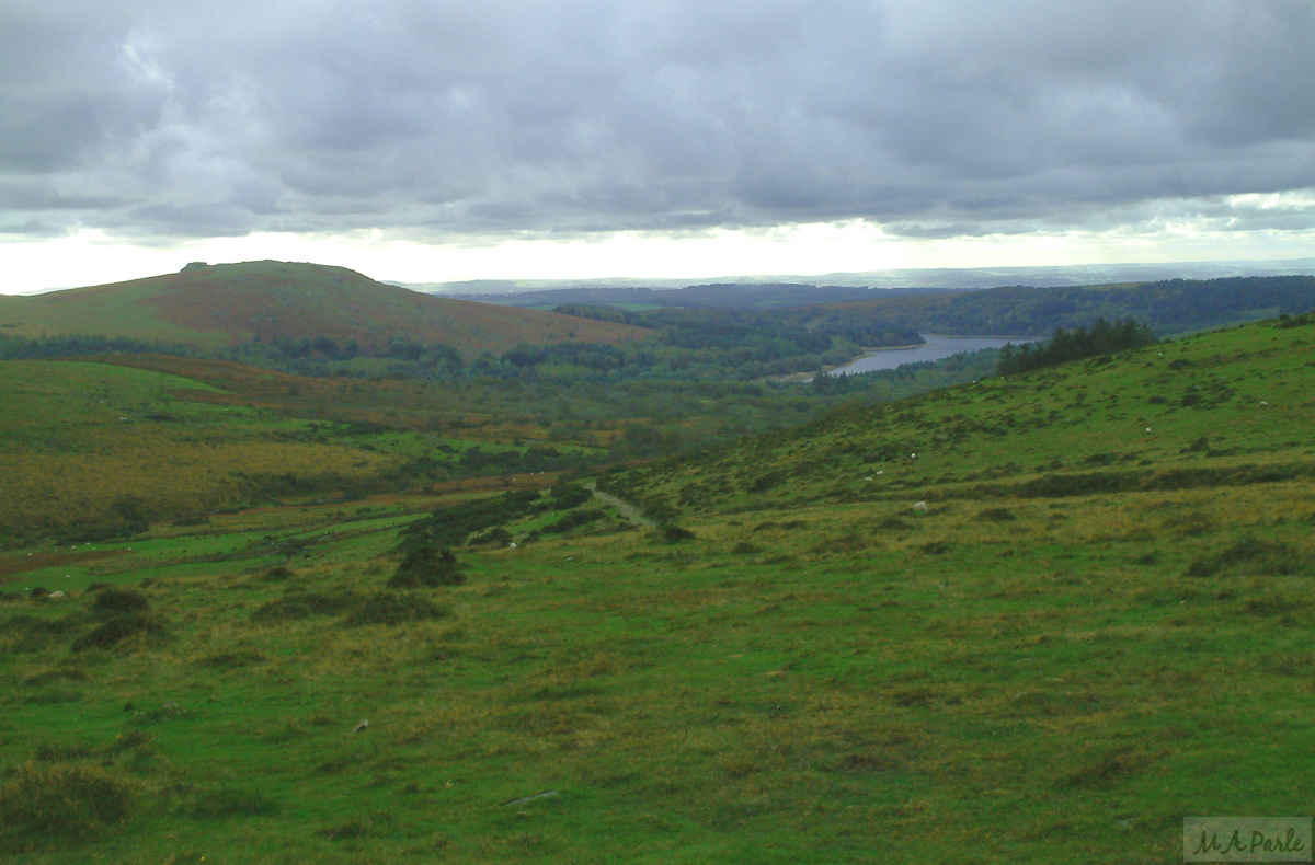 Sheeps Tor and Burrator Reservoir from Raddick Hill