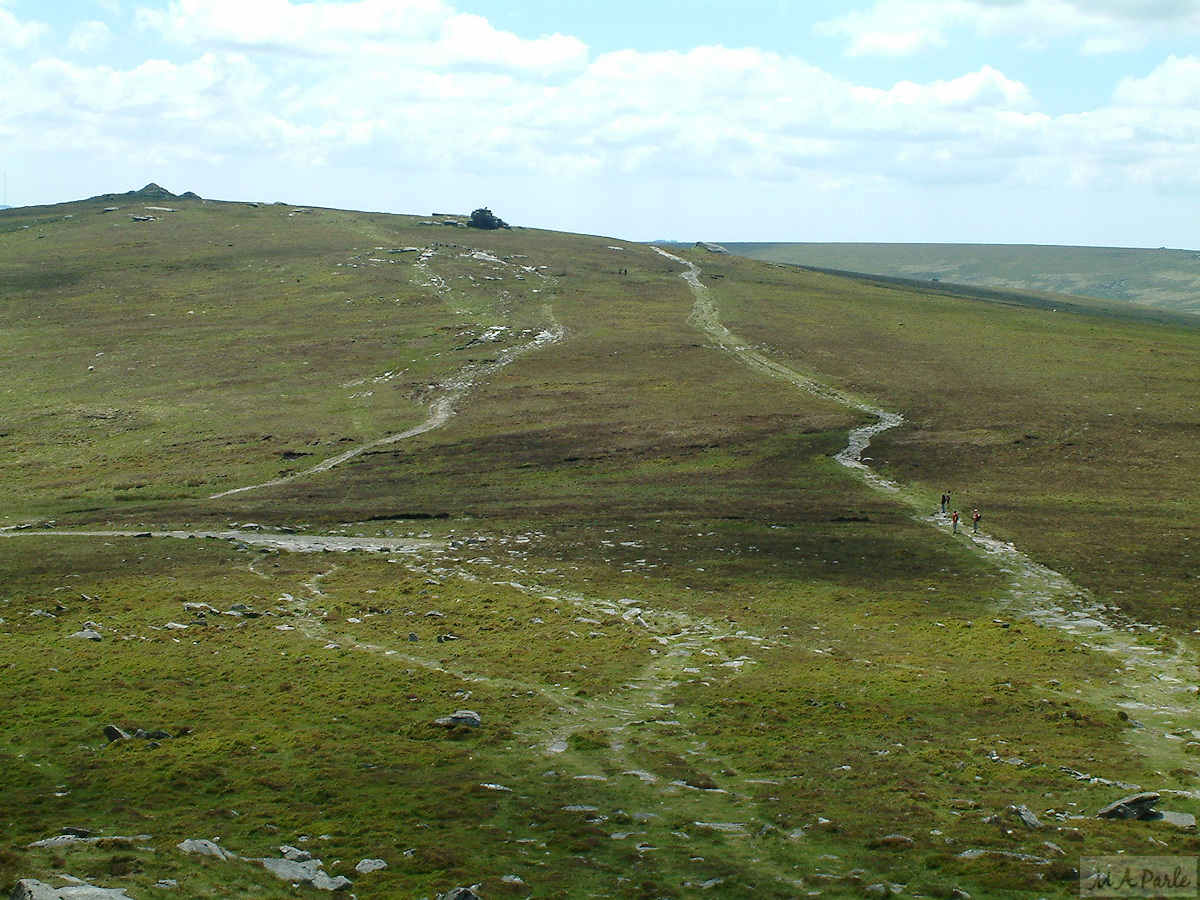 Tracks across High Willhays to Yes Tor